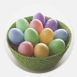 Cesta del huevo de Pascua Etiquetas Redondas