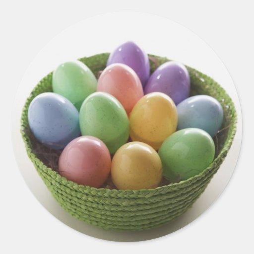 Cesta del huevo de Pascua Pegatina Redonda