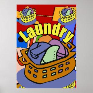 Cesta del lavadero póster