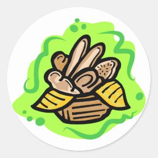 Cesta del pan etiqueta redonda