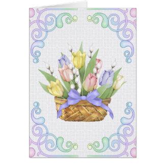Cesta del tulipán de la primavera felicitacion