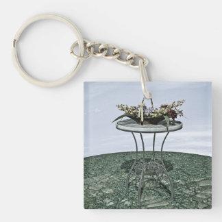 Cesta del vintage de flores llavero cuadrado acrílico a doble cara