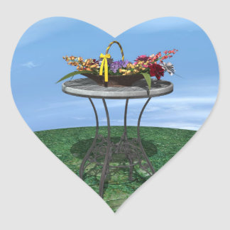 Cesta del vintage de flores pegatina corazón