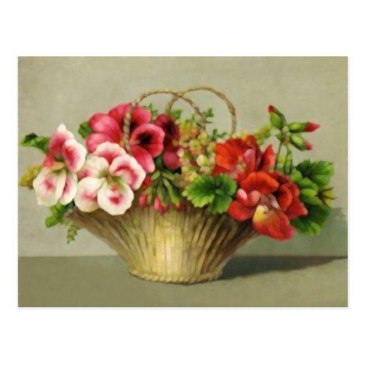 Cesta linda de la flor del vintage postales
