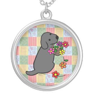 Cesta negra de la flor del perrito de Labrador Colgante Personalizado