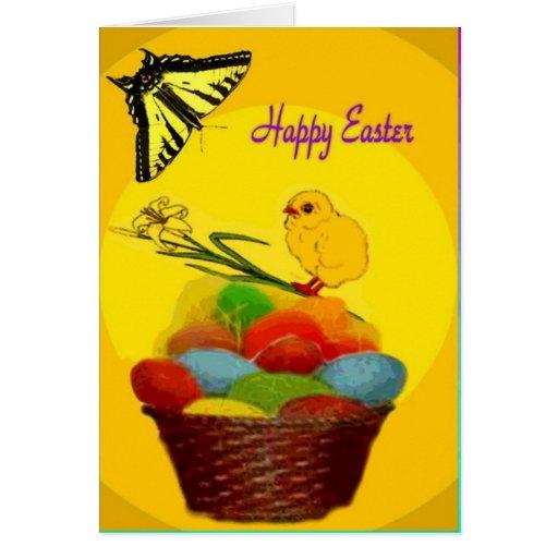 Cesta, polluelo y huevos de Pascua Felicitacion