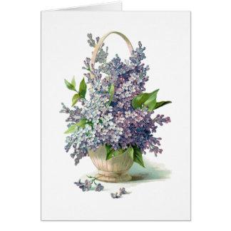 Cesta púrpura magnífica de la lila de Lavendar Felicitación