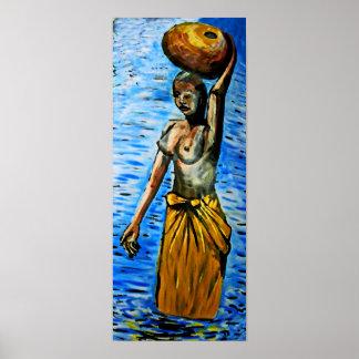 Cesta que lleva de la mujer africana con las tetas impresiones