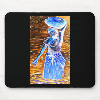 Cesta que lleva de la mujer africana con las tetas tapetes de ratón