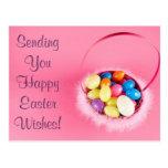 Cesta rosada bonita adaptable feliz de Pascua Tarjetas Postales