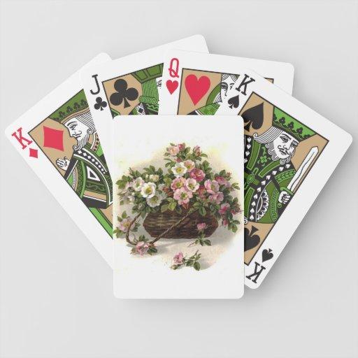 Cesta salvaje de los rosas del vintage barajas de cartas