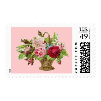 Cesta subió vintage de la flor timbre postal