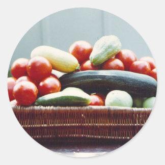 Cesta vegetal pegatina redonda