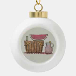 Cesta y sandía de la comida campestre adorno de cerámica en forma de bola