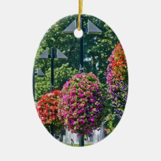 Cestas colgantes de la flor adorno ovalado de cerámica