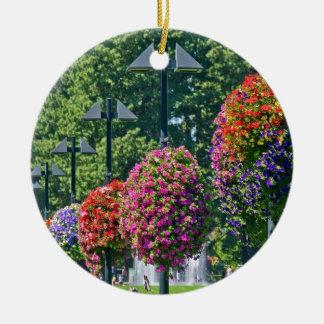 Cestas colgantes de la flor adorno redondo de cerámica
