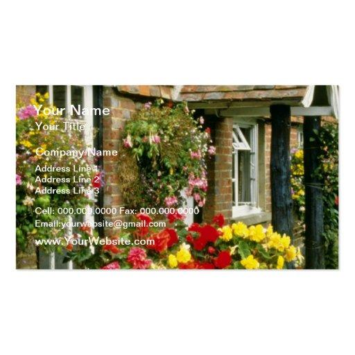 Cestas colgantes rojas y tinas plantadas - calceol tarjetas de visita