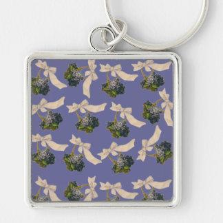 Cestas del vintage de violetas llaveros personalizados