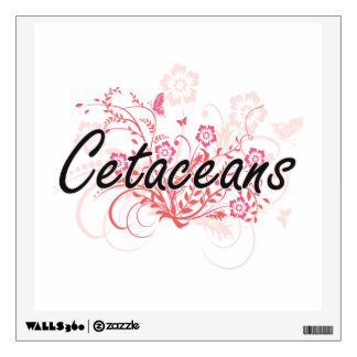 Cetaceans with flowers background room decal