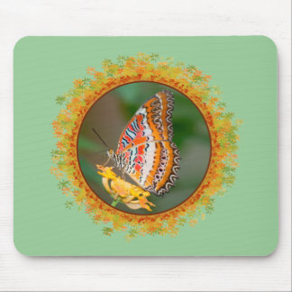Cethosia butterfly on flower in frame of leaves mouse pad