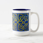 Cetlic Square Knots in Gold on Blue Two-Tone Coffee Mug