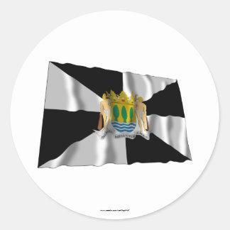 Ceuta waving flag classic round sticker