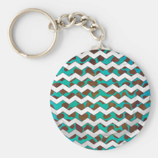 Cevron Dalmatian Brown and Teal Basic Round Button Keychain