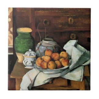 Cezanne - buques, fruta y paño azulejo cuadrado pequeño