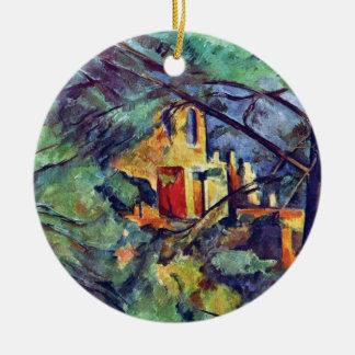 Cezanne - castillo francés Noir Adorno Redondo De Cerámica