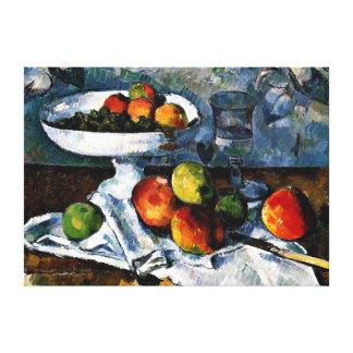 Cezanne - Compotier, vidrio y manzanas Lona Envuelta Para Galerías