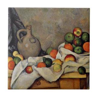 Cezanne - cortina, jarro y fruta azulejo cuadrado pequeño