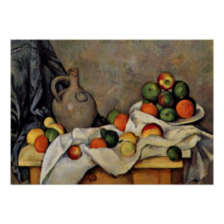 Cezanne - Curtain, Jug and Fruit Poster