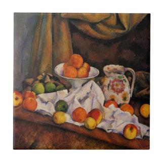 Cezanne: Ilustraciones del cuenco de fruta, de la  Azulejo Cuadrado Pequeño