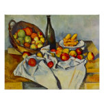 Cezanne la cesta de poster de las manzanas