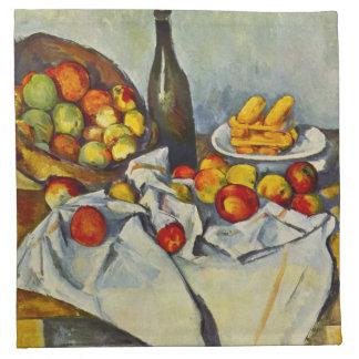 Cezanne la cesta de servilletas de las manzanas