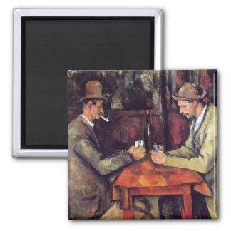 Cezanne - los jugadores de tarjeta imanes para frigoríficos