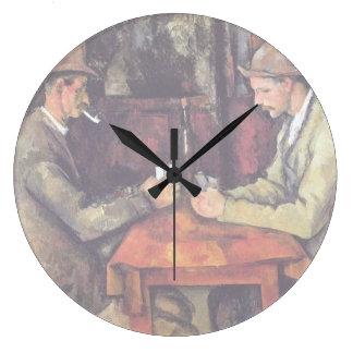 Cezanne - los jugadores de tarjeta reloj redondo grande