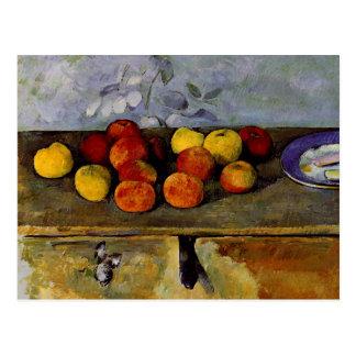 Cezanne - manzanas y galletas tarjeta postal