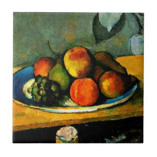 Cezanne - melocotones, peras y uvas azulejo cuadrado pequeño