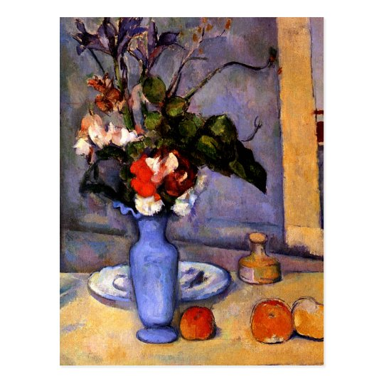 Cezanne painting Still Life With Blue Vase art Postcard