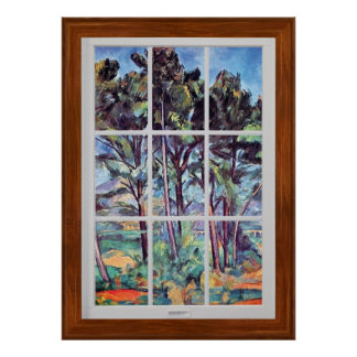 Cezanne - Pines And Aqueduct Window Frame Poster