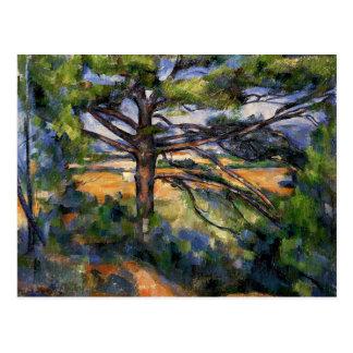 Cezanne - pino grande y tierra roja postal