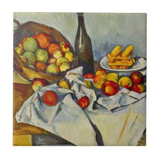 Cezanne que la cesta de manzanas teja