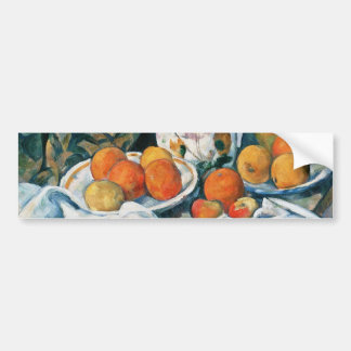Cezanne Still Life Curtain,Flowered Pitcher,Fruit Bumper Sticker