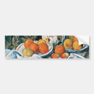 Cezanne Still Life Curtain Flowered Pitcher Fruit Bumper Stickers