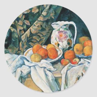 Cezanne Still Life Curtain,Flowered Pitcher,Fruit Classic Round Sticker