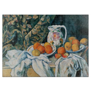 Cezanne Still Life Curtain,Flowered Pitcher,Fruit Cutting Board