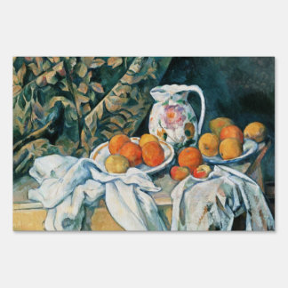 Cezanne Still Life Curtain,Flowered Pitcher,Fruit Lawn Sign