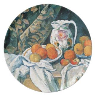 Cezanne Still Life Curtain,Flowered Pitcher,Fruit Melamine Plate
