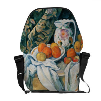 Cezanne Still Life Curtain,Flowered Pitcher,Fruit Messenger Bag